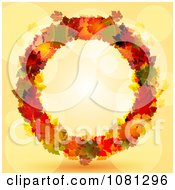 Clipart Colorful Autumn Leaf Thanksgiving Wreath Over Orange With Flares Royalty Free Vector Illustration by elaineitalia