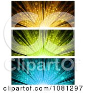 Clipart Orange Green And Blue Burst Website Banners Royalty Free Vector Illustration