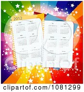 Clipart 2012 Calendars On Paper Pages Over Colorful Starry Rays Royalty Free Vector Illustration