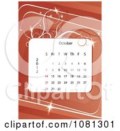 Clipart October 2012 Calendar Over Red With Vines Royalty Free Vector Illustration