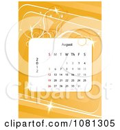 Clipart August 2012 Calendar Over Orange With Vines Royalty Free Vector Illustration