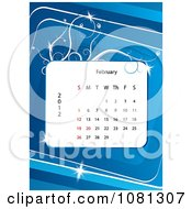 Clipart February 2012 Calendar Over Blue With Vines Royalty Free Vector Illustration