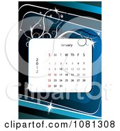 Clipart January 2012 Calendar Over Blue With Vines Royalty Free Vector Illustration
