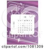 Clipart July 2012 Calendar Over Purple With Vines Royalty Free Vector Illustration