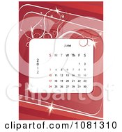 Clipart June 2012 Calendar Over Red With Vines Royalty Free Vector Illustration