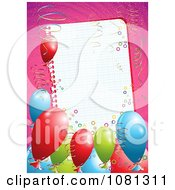 Clipart 3d Birthday Party Balloons And Ribbons Around A Blank Page Over Pink Royalty Free Vector Illustration by MilsiArt