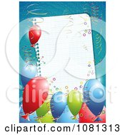 Clipart 3d Birthday Party Balloons And Ribbons Around A Blank Page Over Blue Royalty Free Vector Illustration by MilsiArt