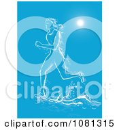 Clipart Female Marathon Runner Made Of Water Under Rays On Blue Royalty Free Vector Illustration