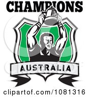Clipart Australia Champions Rugby Player And Trophy Shield Royalty Free Vector Illustration