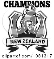 Clipart New Zealand Champions Rugby Player And Trophy Shield Royalty Free Vector Illustration