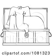 Outlined Elephant Rising In A Coffin