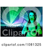 Clipart Female Dj In Front Of A Dance Crowd Royalty Free Vector Illustration