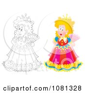 Clipart Colored And Outlined Queens Holding Hand Fans Royalty Free Illustration