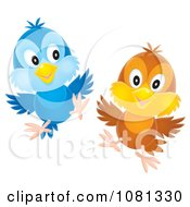 Clipart Airbrushed Blue And Brown Birds Flying Royalty Free Vector Illustration