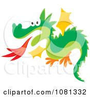 Clipart Fire Breathing Dragon Flying Royalty Free Vector Illustration by Alex Bannykh