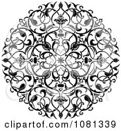 Clipart Black And White Ornate Floral Circle Tattoo Design Element Royalty Free Vector Illustration