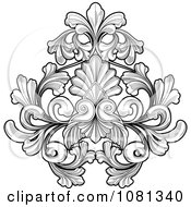 Clipart Black And White Floral Tattoo Design Element Royalty Free Vector Illustration