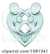 Clipart Blue Parents Protecting Their Children And Forming A Heart Royalty Free Vector Illustration
