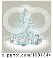 Clipart 3d Blue Christmas Tree And Gifts Over Beige Royalty Free Vector Illustration