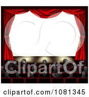 Clipart 3d Red Theater Curtains And An Audience Facing Copyspace Royalty Free Vector Illustration by AtStockIllustration