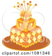 Clipart Three Tiered Orange And Yellow Square Fondant Cake With Pins Royalty Free Vector Illustration by Pams Clipart
