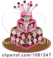 Clipart Three Tiered Pink And Brown Square Fondant Cake With Pins Royalty Free Vector Illustration
