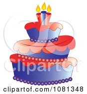 Clipart Three Tiered Americana Fondant Cake With Candles Royalty Free Vector Illustration