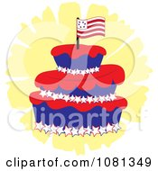 Clipart Three Tiered Americana Fondant Cake With A Flag Royalty Free Vector Illustration