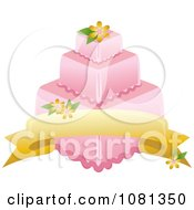 Clipart Three Tiered Pink Square Fondant Cake With A Banner And Yellow Flowers Royalty Free Vector Illustration