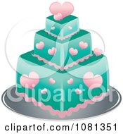 Clipart Three Tiered Pink Heart And Turquoise Square Fondant Cake Royalty Free Vector Illustration