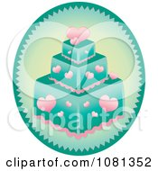 Clipart Oval With A Pink Heart And Turquoise Square Fondant Cake Royalty Free Vector Illustration