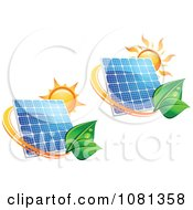 Clipart Suns Above Solar Panels With Green Leaf Circles 2 Royalty Free Vector Illustration by Vector Tradition SM