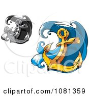 Clipart Grayscale And Gold Heavy Nautical Anchors And Waves Royalty Free Vector Illustration