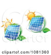 Clipart Suns Above Solar Panels With Green Leaf Circles 1 Royalty Free Vector Illustration by Vector Tradition SM