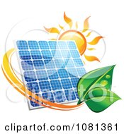 Clipart Sun Above A Solar Panel With A Green Leaf Circle 4 Royalty Free Vector Illustration