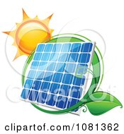 Clipart Sun Above A Solar Panel With A Green Leaf Circle 2 Royalty Free Vector Illustration