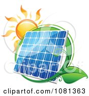 Clipart Sun Above A Solar Panel With A Green Leaf Circle 1 Royalty Free Vector Illustration