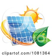 Clipart Sun Above A Solar Panel With A Green Leaf Circle 3 Royalty Free Vector Illustration