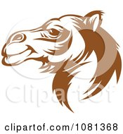 Clipart Brown And White Camel Face Profile Royalty Free Vector Illustration