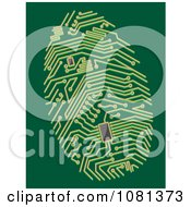 Clipart Green Circuit Thumb Print Royalty Free Vector Illustration