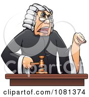 Clipart Mad Judge Banging A Gavel And Pointing Royalty Free Vector Illustration