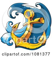 Clipart Gold Heavy Nautical Anchor And Wave Royalty Free Vector Illustration