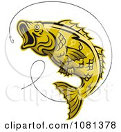 Clipart Leaping Yellow Trout And Hook Royalty Free Vector Illustration