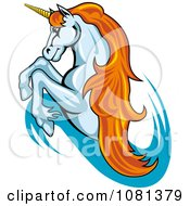 Clipart Leaping Unicorn With Orange Hair Logo Royalty Free Vector Illustration