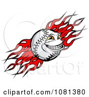 Clipart Baseball Character And Tribal Flames Royalty Free Vector Illustration
