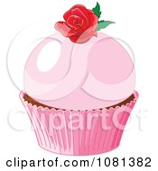 Clipart Pink Cupcake Garnished With A Red Rose Royalty Free Vector Illustration by Pushkin