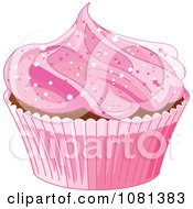Clipart Pink Cupcake With Sparkly Pink Frosting Royalty Free Vector Illustration by Pushkin