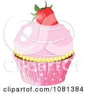 Clipart Pink Cupcake Garnished With A Strawberry Royalty Free Vector Illustration by Pushkin