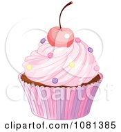 Clipart Pink Cupcake Garnished With A Cherry And Sprinkles Royalty Free Vector Illustration by Pushkin