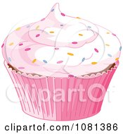 Clipart Pink Cupcake Garnished With Sprinkles Royalty Free Vector Illustration by Pushkin